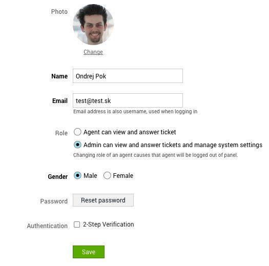 Példa egy fiókadminisztrátor beállítására a LiveAgent alkalmazásban.