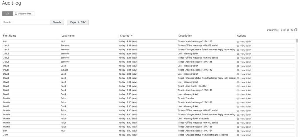 Audit Napló/Tevékenységnapló a LiveAgent-ben -példa.