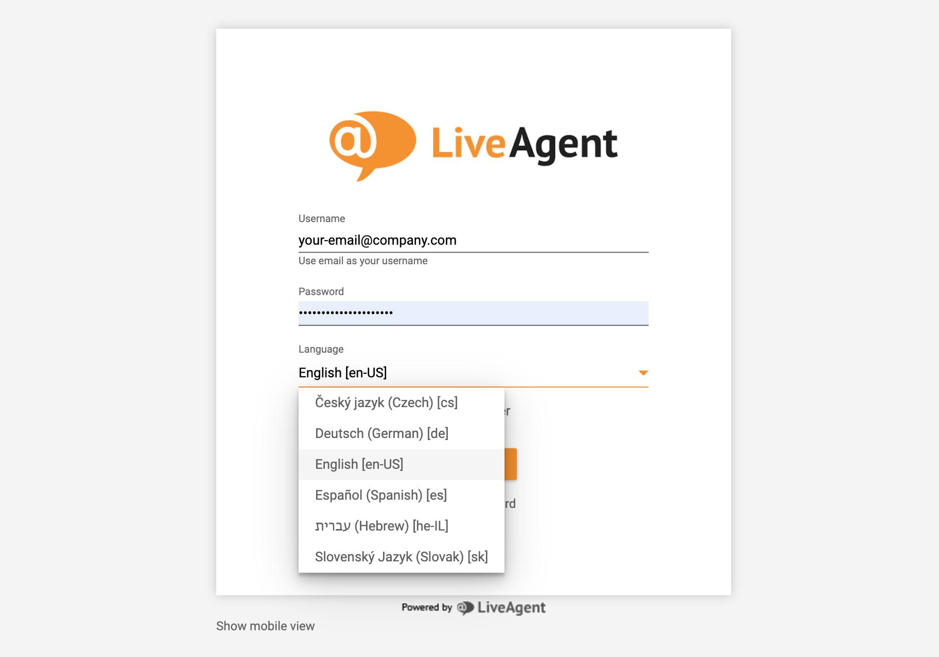 LiveAgent login - language choice