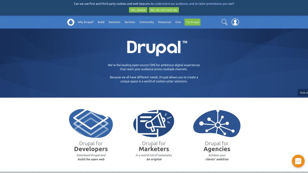 Botão de live chat do LiveAgent na página inicial do Drupal.