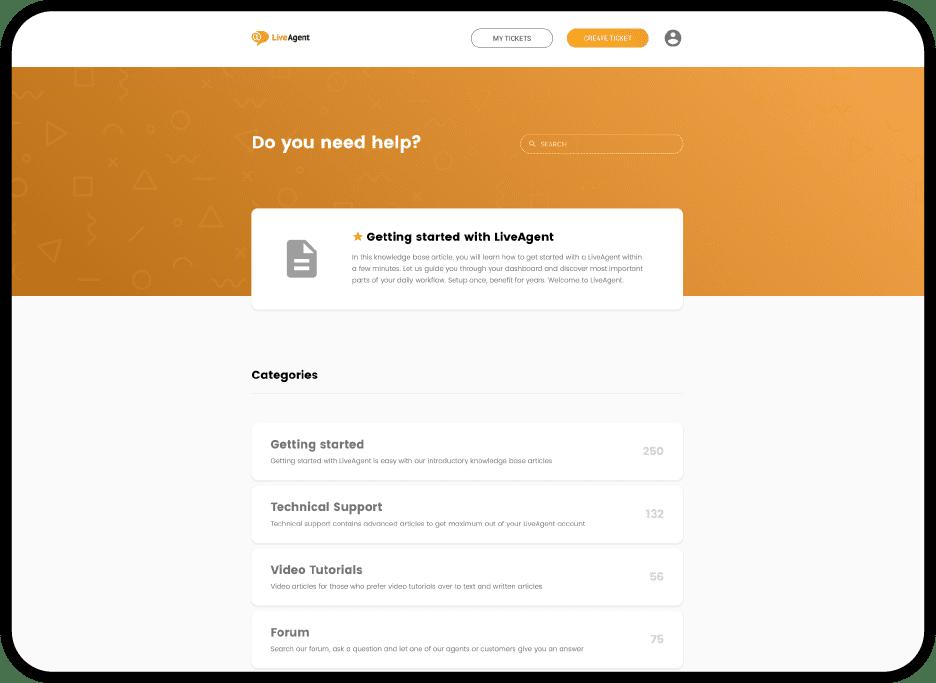 système de base de connaissances gratuit - LiveAgent
