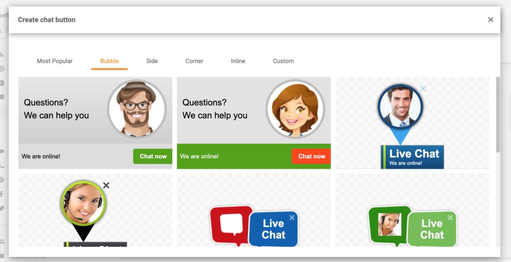 Botones de chat LiveAgent