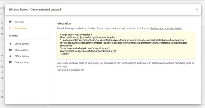 Как добавить кнопку онлайн чата в LiveAgent?