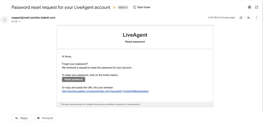 Jelszóvisszaállítási e-mail LiveAgent