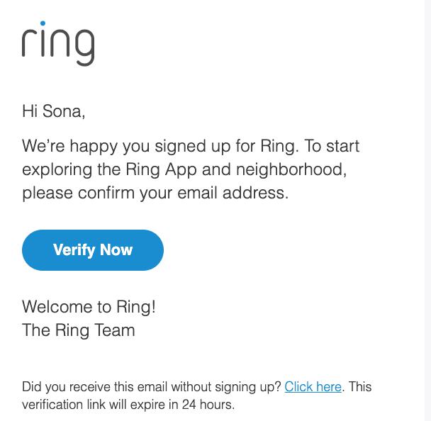 письмо для верификации от ring