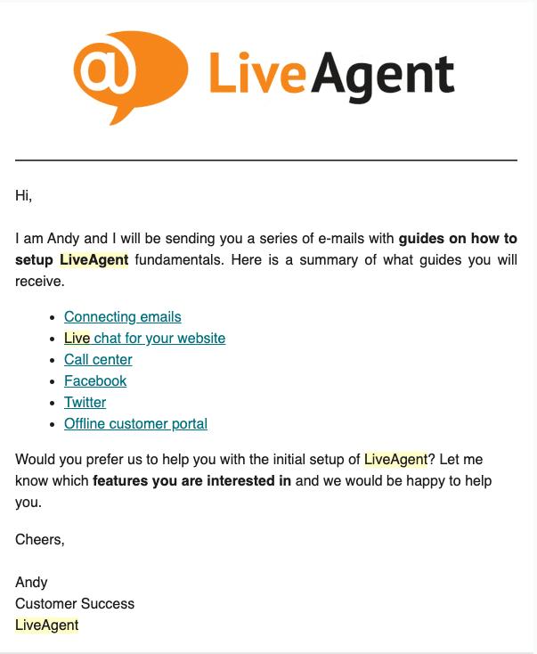 LiveAgent Einführungsemail