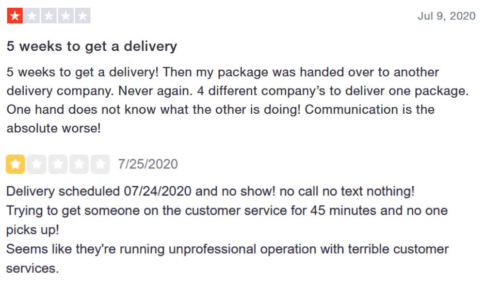 Reseñas negativas de servicio al cliente y logística