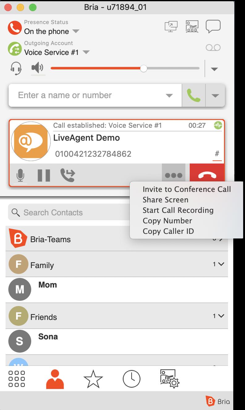 Bria Softphone Anruf