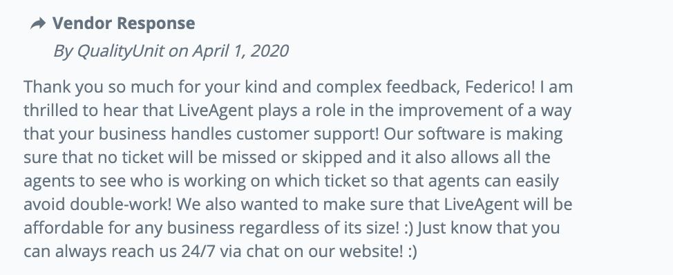 Ответ на отзыв клиента Capterra на LiveAgent