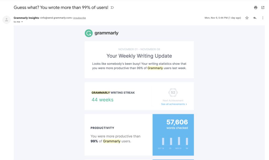 Résumé des e-mails Grammarly
