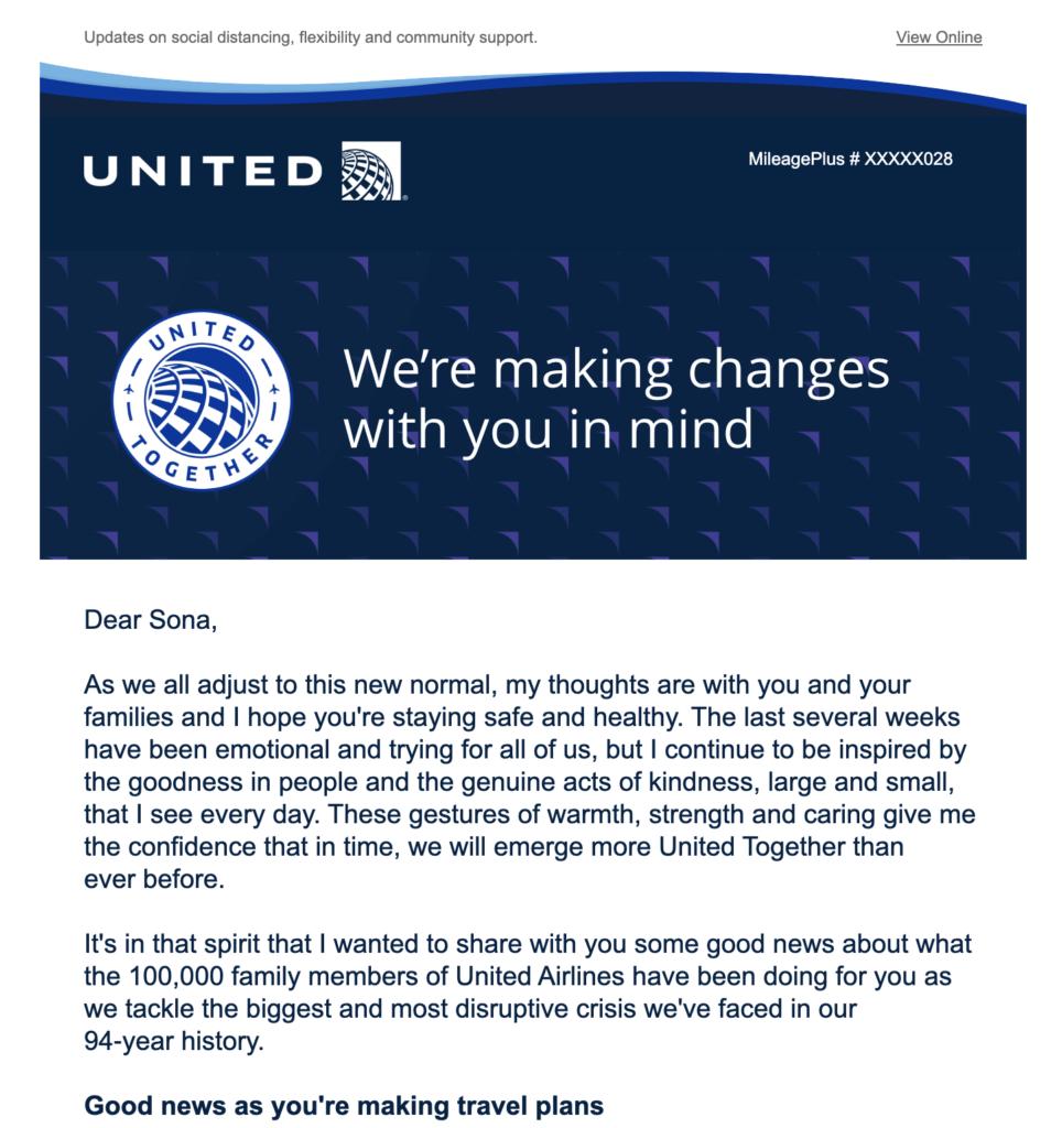 Informative E-Mail von United Airlines