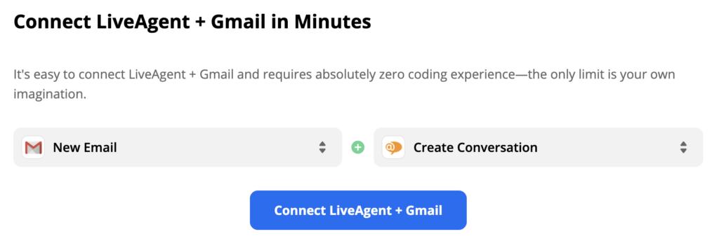LiveAgent и Gmail: триггер— новое письмо, действие— начало разговора