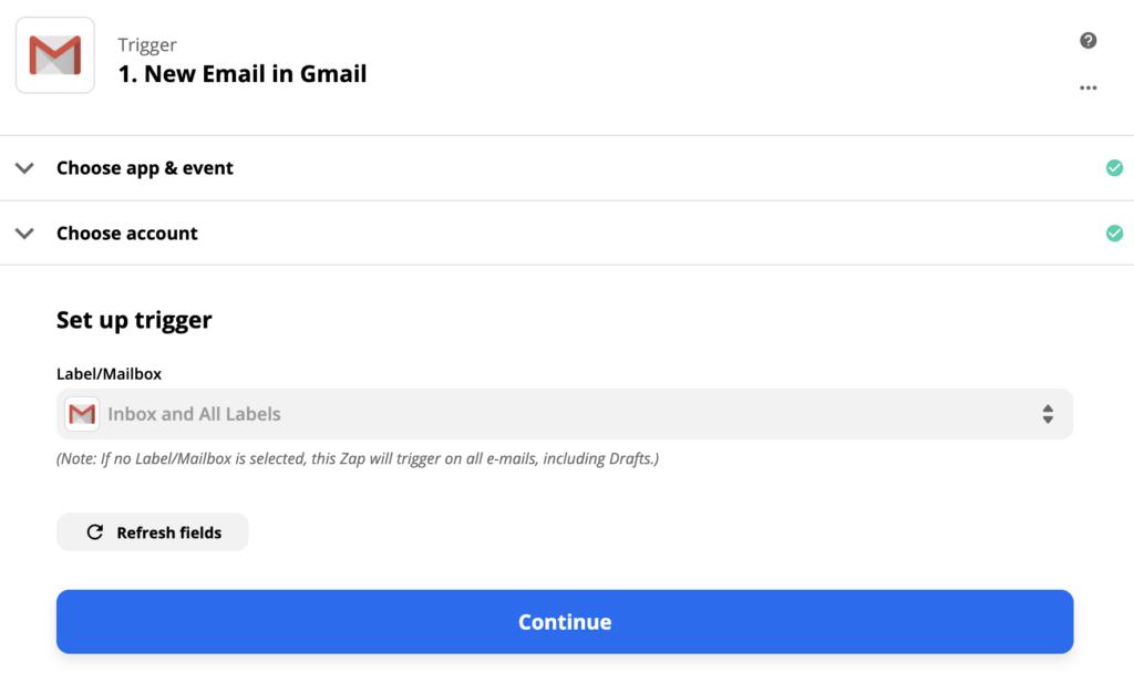 Настройка триггера Gmail в Zapier