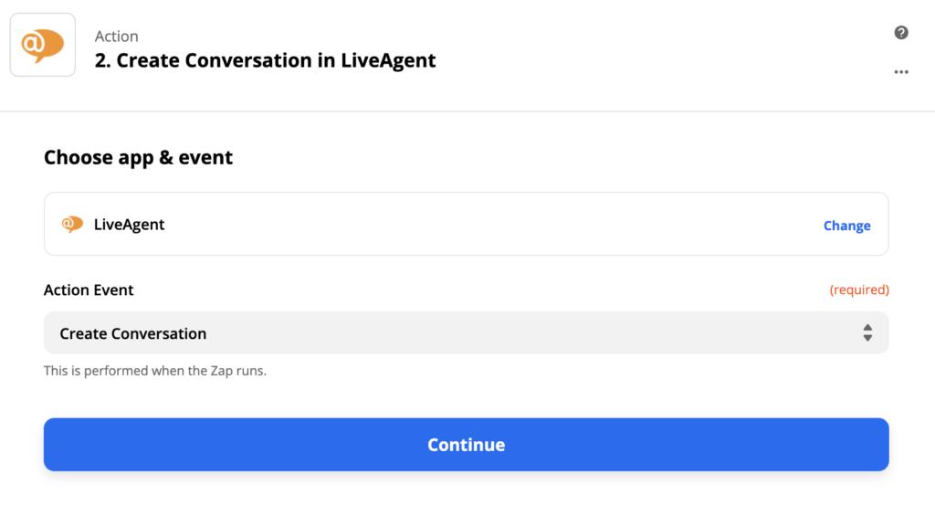 Настройка действия в LiveAgent в Zapier
