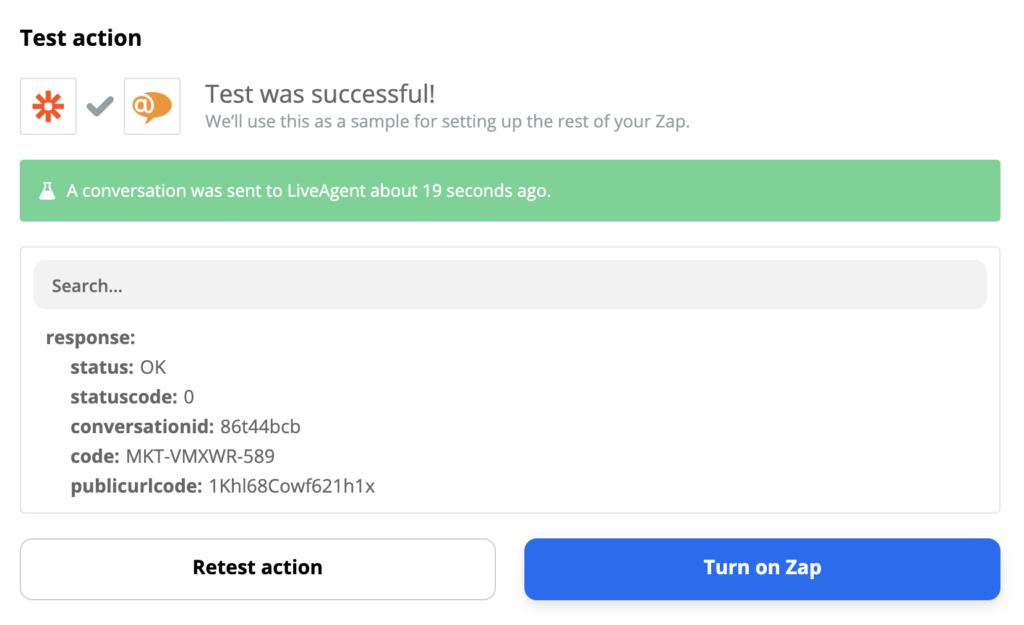 Пример успешного тестирования LiveAgent и Gmail