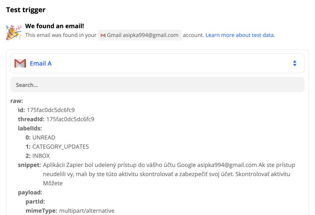 Пример тестирования триггера Gmail