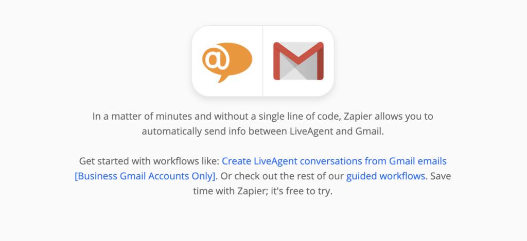Объяснение интеграции LiveAgent и Gmail на Zapier