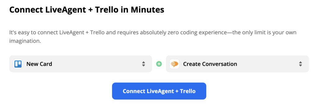 Новая карточка в качестве триггера в Trello и новый разговор в качестве действия в LiveAgent