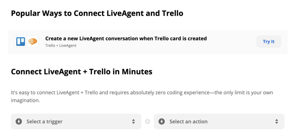 Интеграция LiveAgent и Trello на Zapier, выбор триггеров и действий