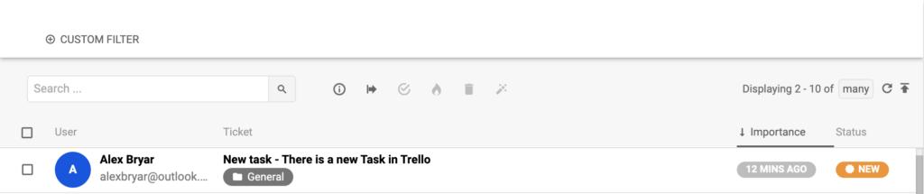 Новый разговор в LiveAgent, инициированный интеграцией с Trello