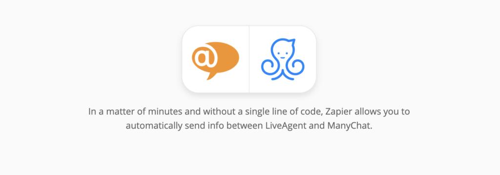 ManyChat és LiveAgent integrációs oldal a Zapier-en