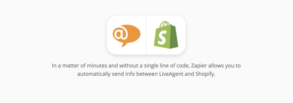 De integratiepagina van LiveAgent en Shopify op Zapier