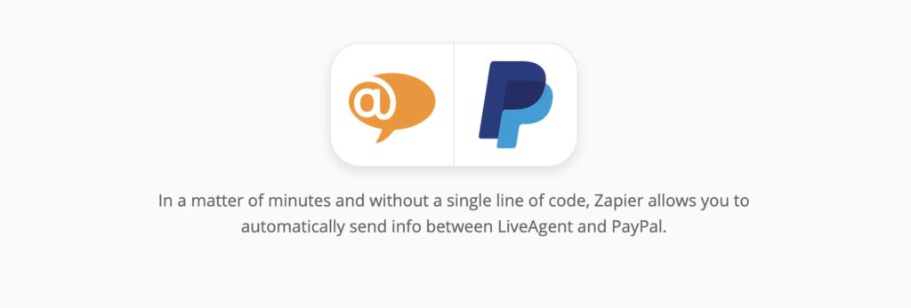 LiveAgent en PayPal-integratiepagina op Zapier