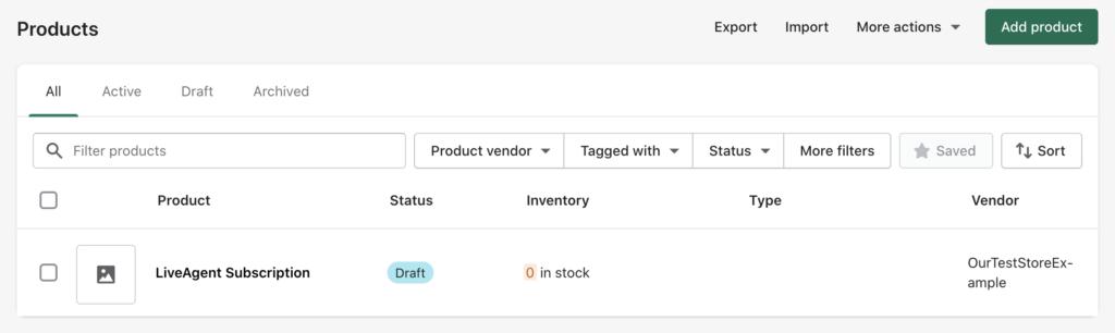 Раздел товаров в Shopify