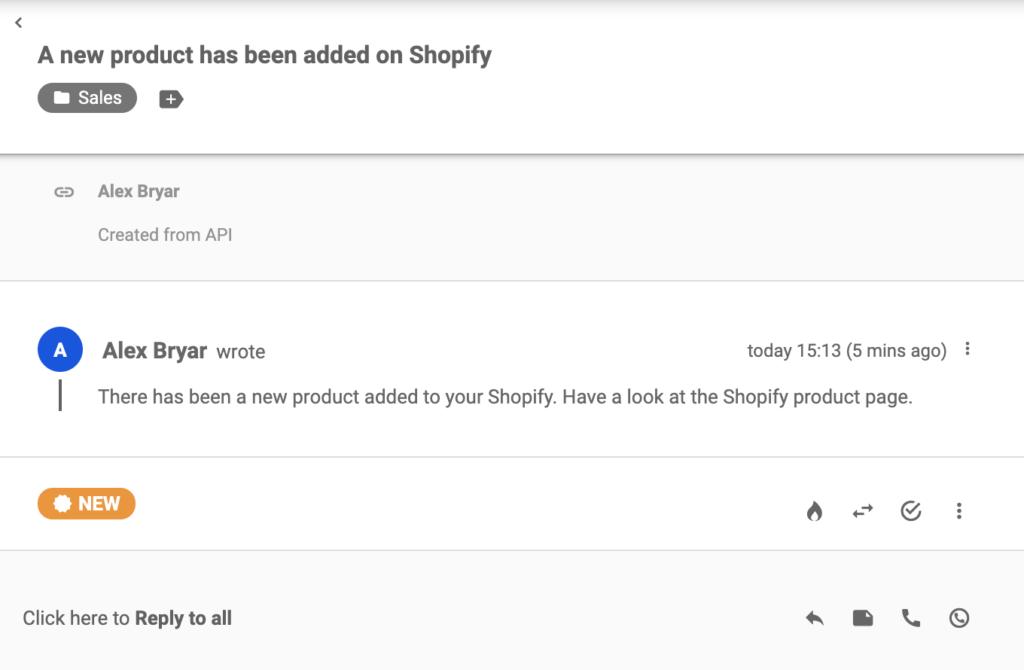 Een nieuw ticket dat is verzonden vanuit Shopify na het maken van een product