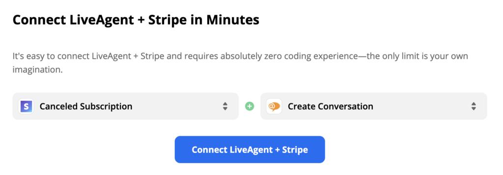 Przykład wyzwalacza Stripe i akcji LiveAgent