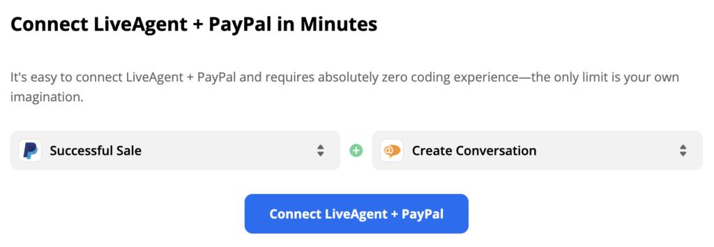 Succesvolle verkoop PayPal-trigger gekoppeld aan LiveAgent-actie Gesprek creëren..