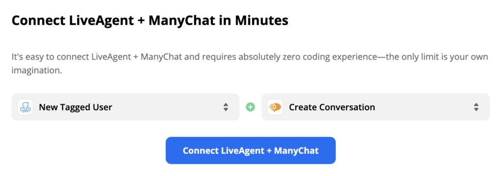 Kiválasztott ManyChat eseménykiváltó és LiveAgent művelet a Zapier oldalon