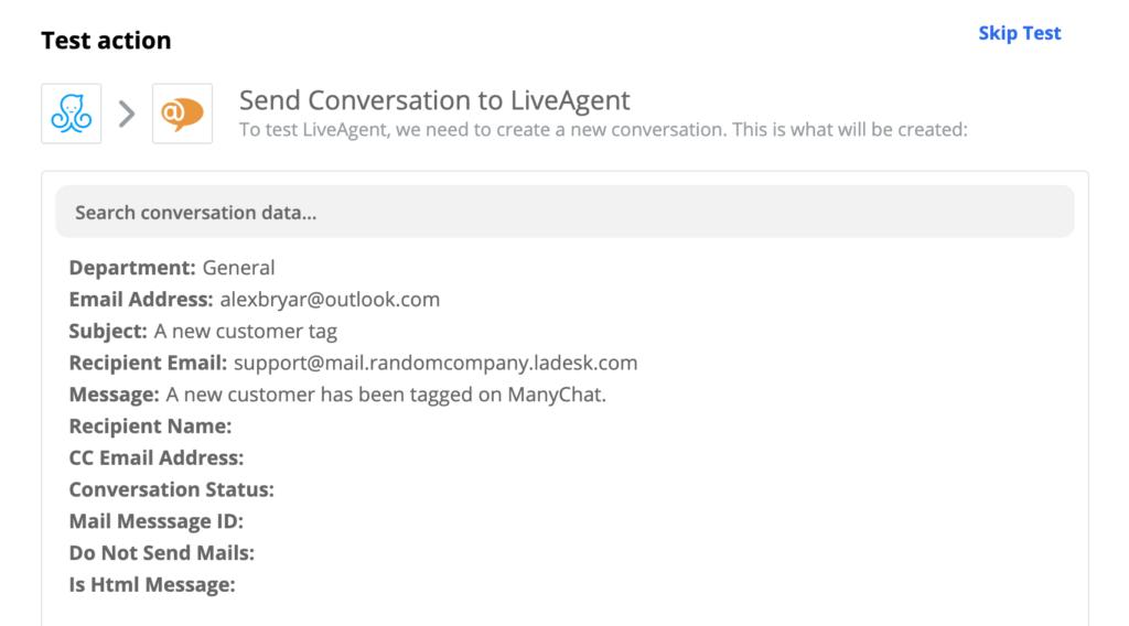 Succesvolle test van een ManyChat- en LiveAgent-integratie