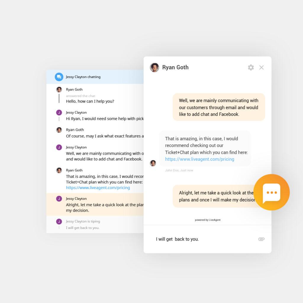 Panoramica della live chat in corso in LiveAgent con pulsante di chat dal vivo e widget e finestra di live chat visualizzati