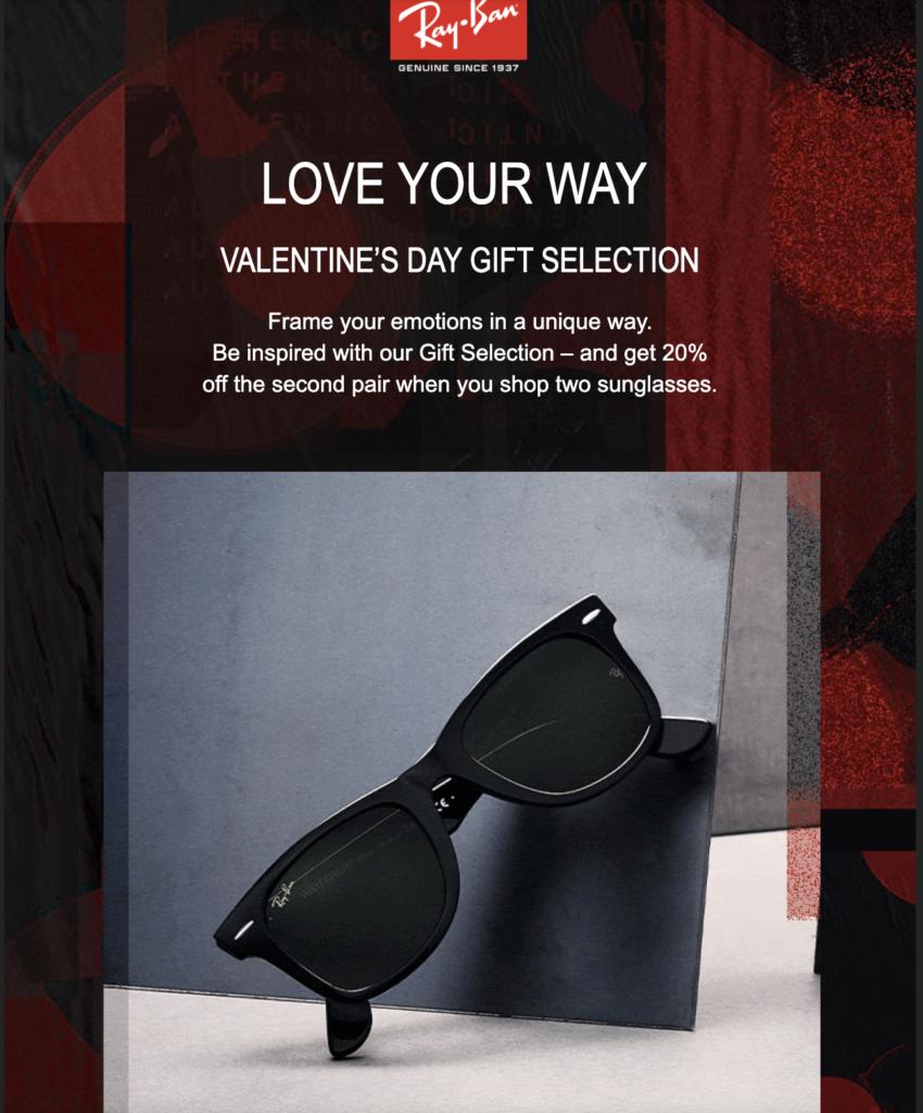 Распродажа в RayBan в День святого Валентина