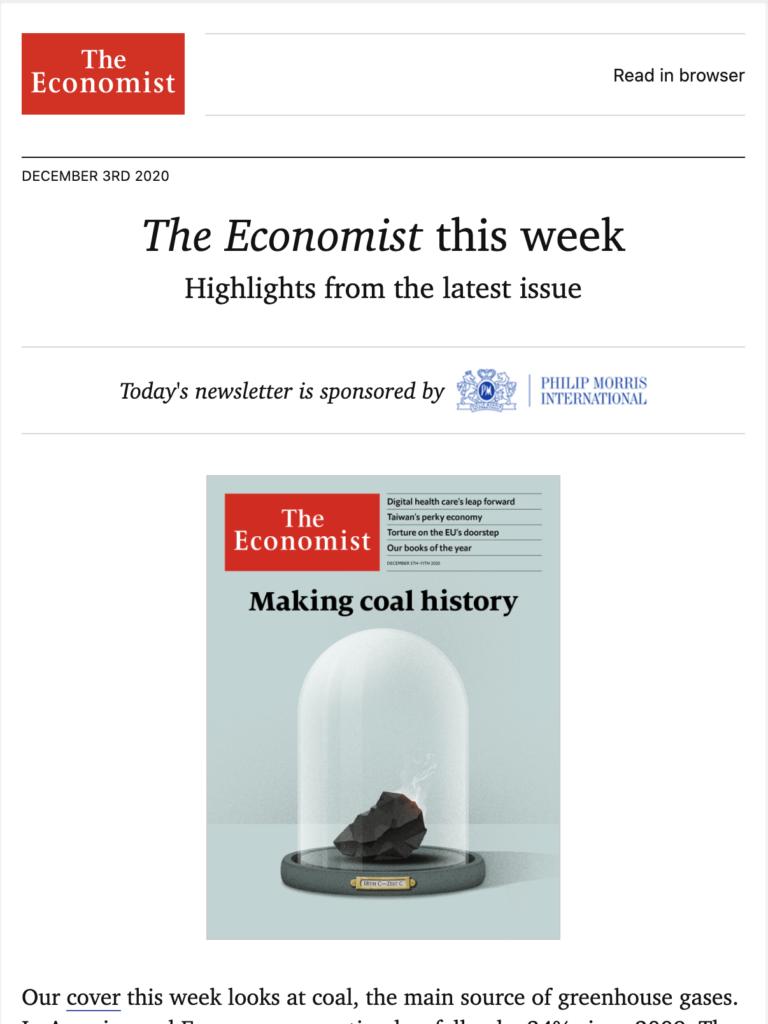 Een nieuwe artikelaankondiging van The Economist
