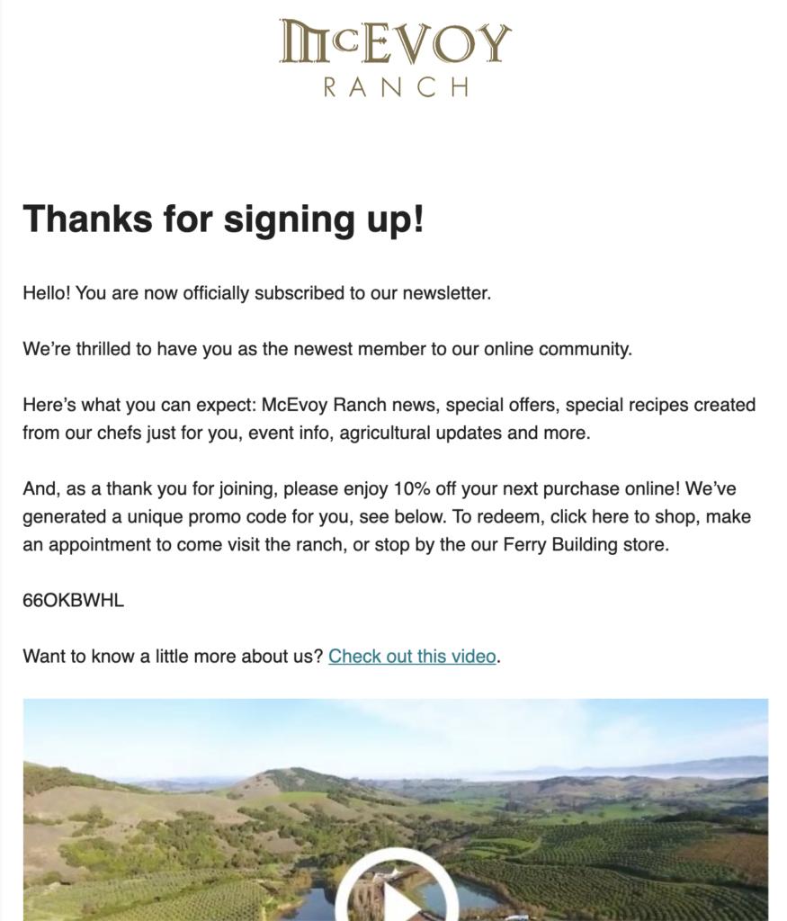 Email voor aanmelding bij McEvoy Ranch-nieuwsbrief