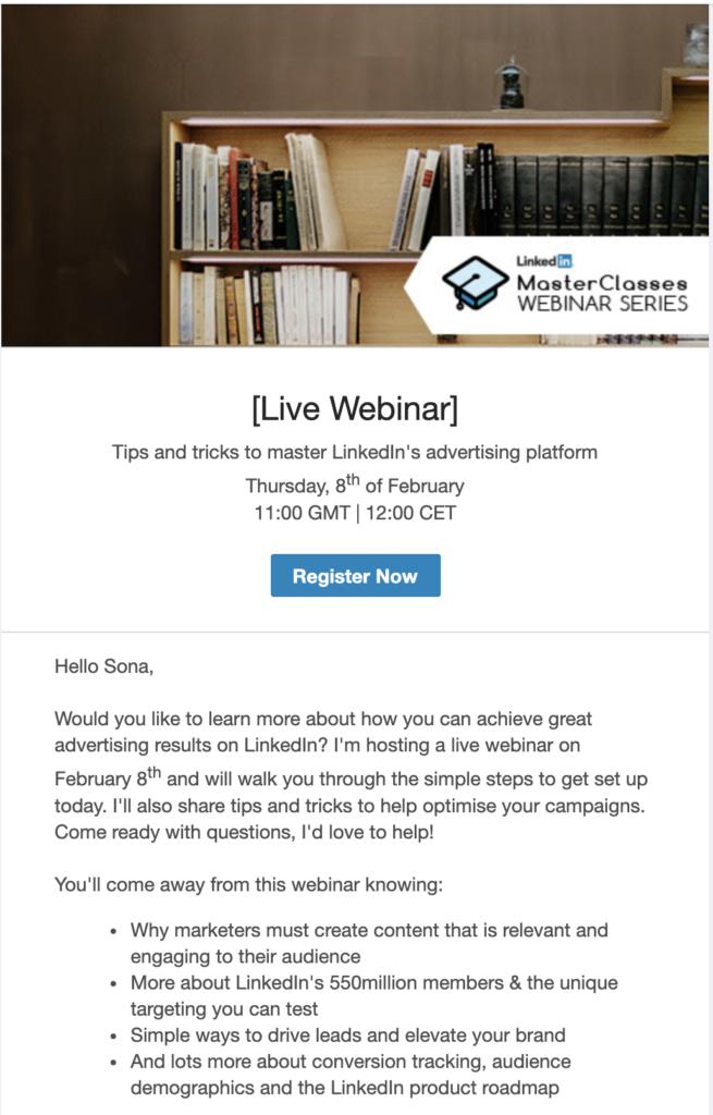 Modello email di anteprima del webinar di LinkedIn