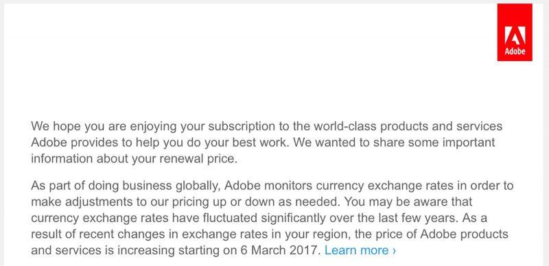 Emailsjablonen voor een prijsverhoging