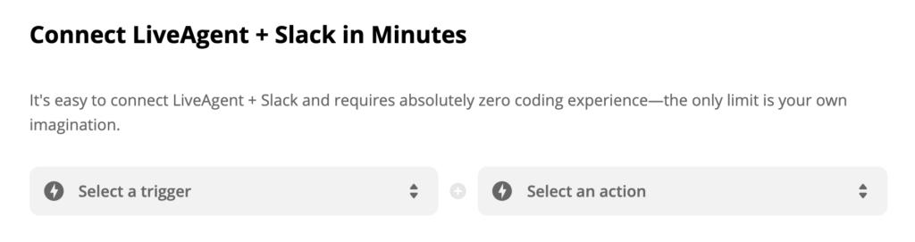 LiveAgent + Slack kiváltó és műveletválasztás a Zapieren