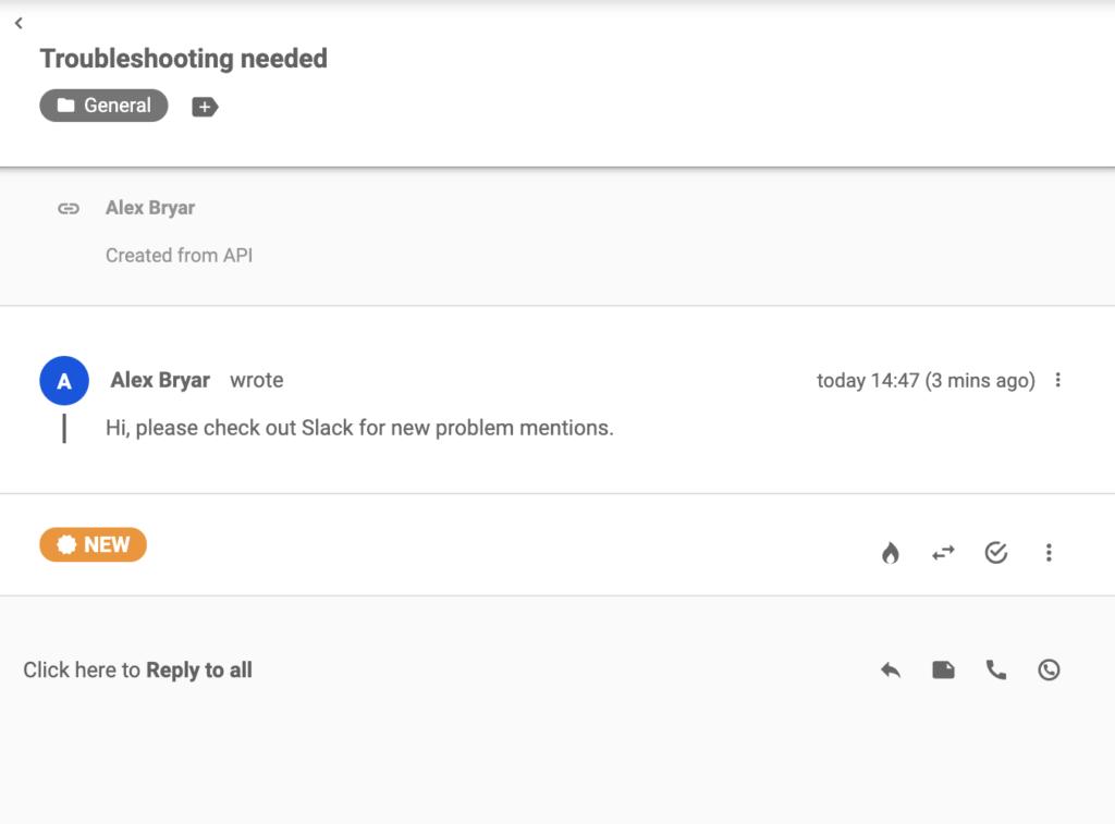 Egy jegy, amelyet a LiveAgentnek küldtek, miután egy kulcsszó megjelent a Slackben