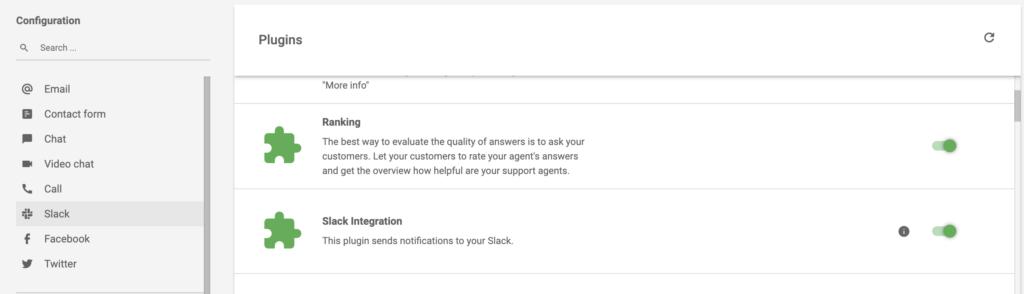 Активная интеграция Slack в разделе расширений LiveAgent