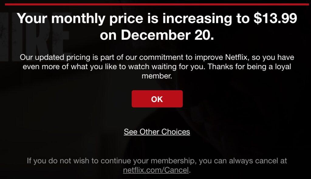 emailsjabloon voor een prijsverhoging van Netflix