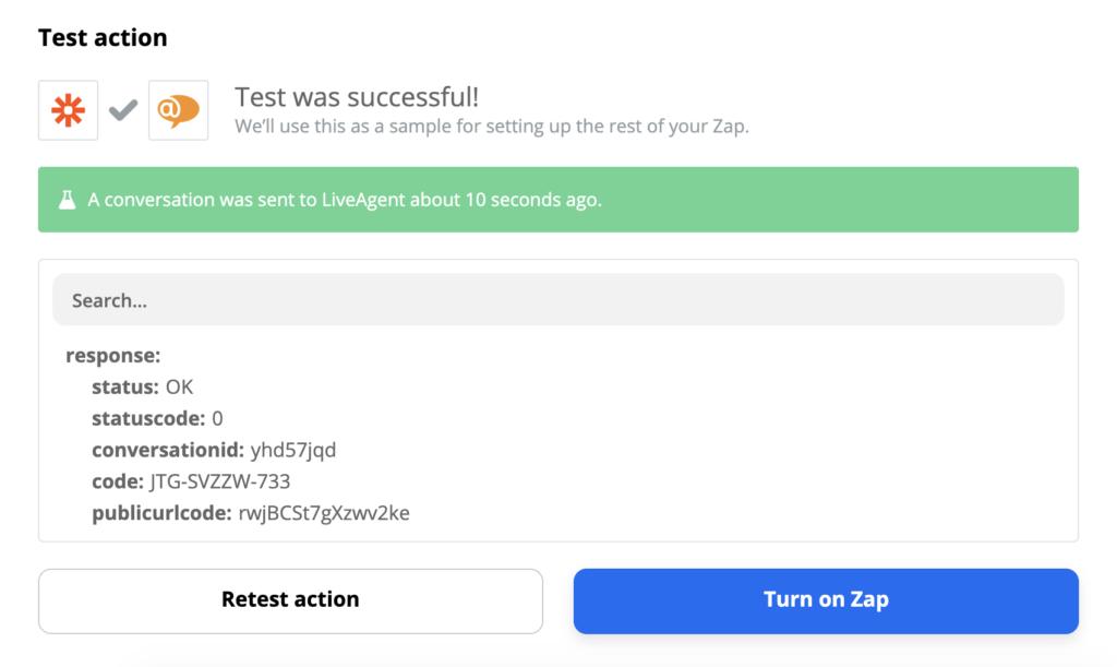 Успешная проверка интеграции LiveAgent и Slack в системе Zapier