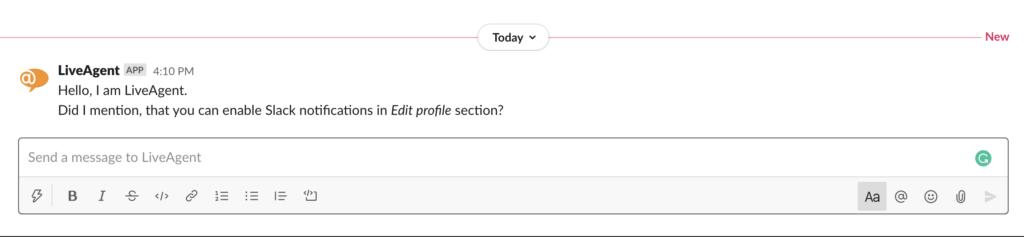 Slack értesítés egy új sürgős címkéről a LiveAgentben