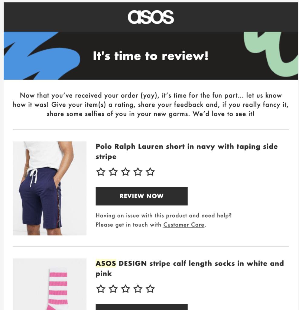 Шаблон послепокупочного сообщения электронной почты от ASOS