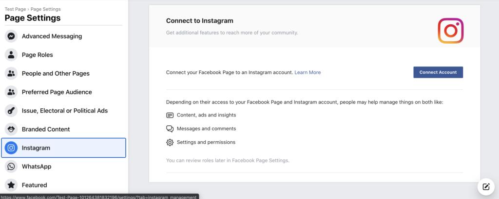 Instagram beállítások a Facebookon, egy Instagram oldal összekapcsolása a Facebook oldallal