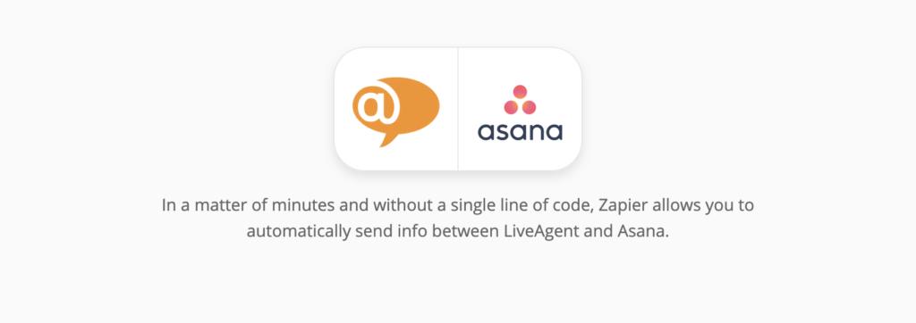 Страница интеграции LiveAgent и Asana на сайте Zapier