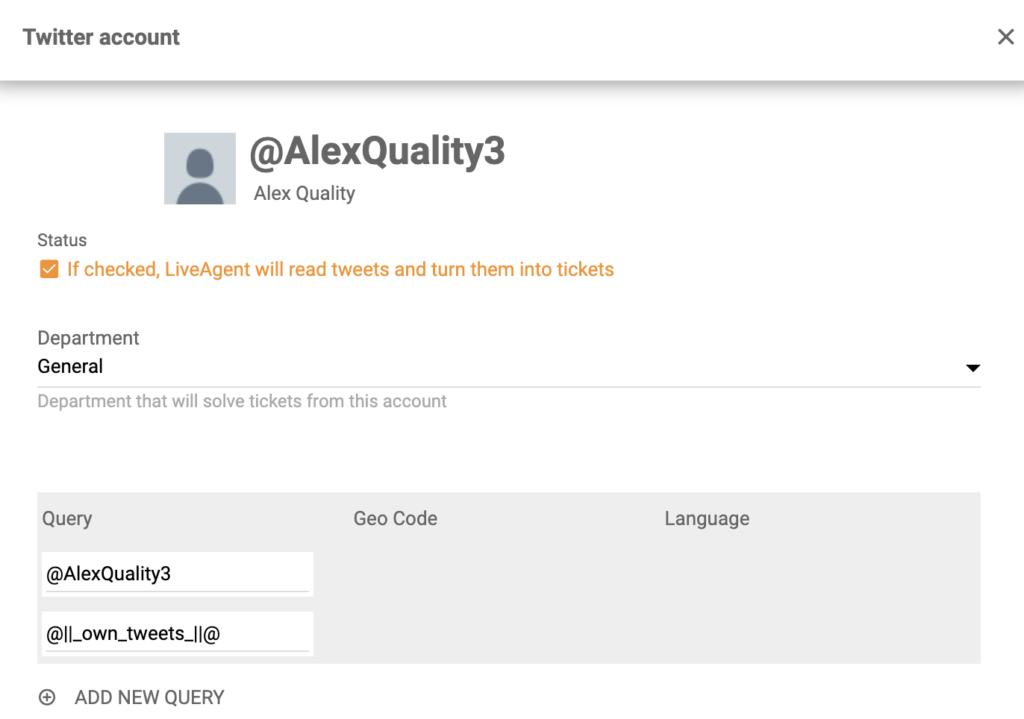 Отметьте галочкой поле Статус в настройке интеграции Twitter в системе LiveAgent