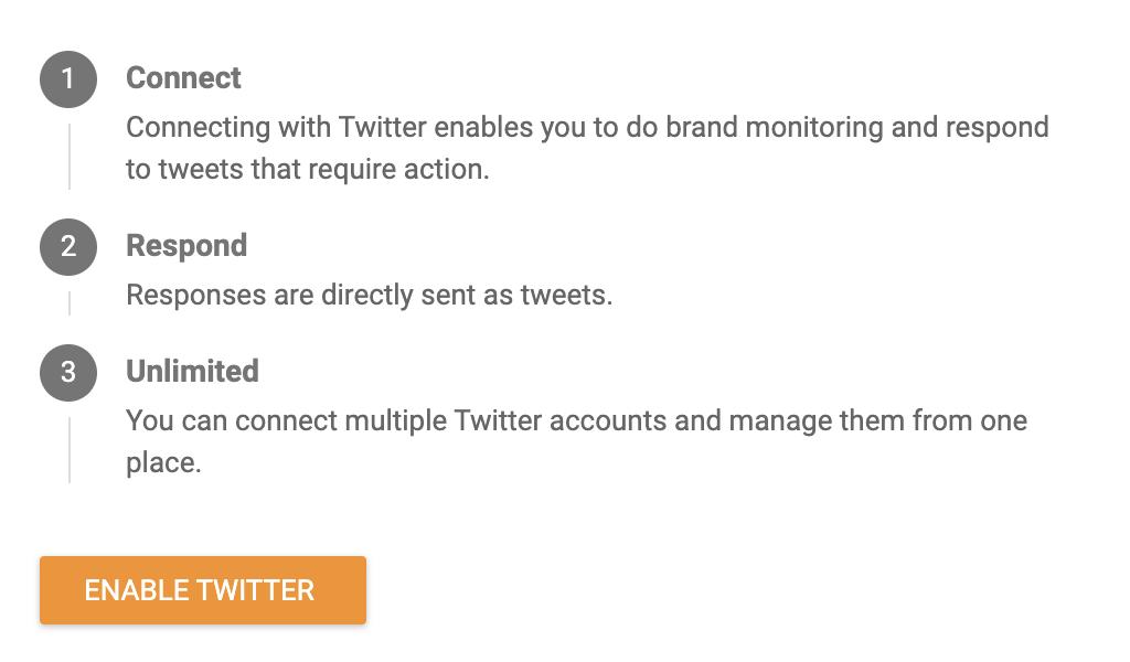 Раздел Twitter с кнопкой Включить Twitter